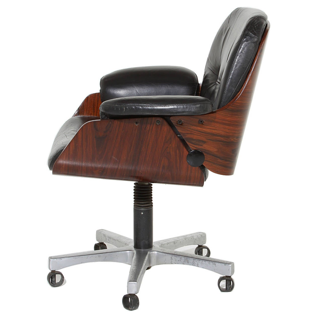 Vintage Office Chair In Rosewood And Black Leather 2