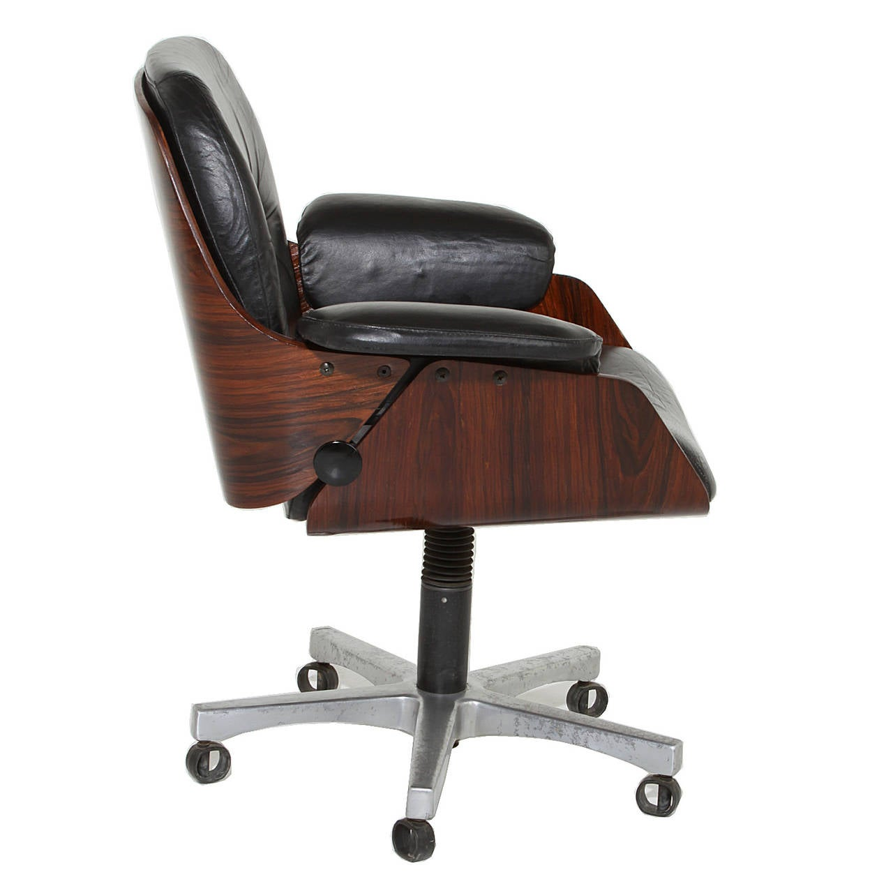 this vintage office chair in rosewood and black leather is no longer