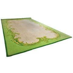 Massive Vintage Green and Cream Leaf Pattern Frame Rug
