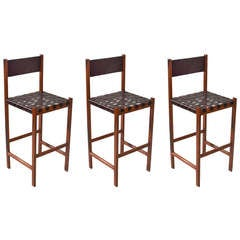 The Basic Leather Strap Bar Stool in Rosewood by Thomas Hayes Studio