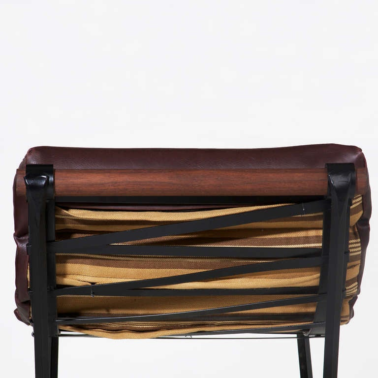 Iron and Rolled Seat Bar Stool by Thomas Hayes Studio 7