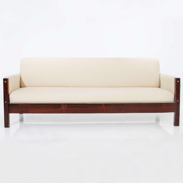 Vintage Brazilian Rosewood And Cream Fabric Sofa For Sale