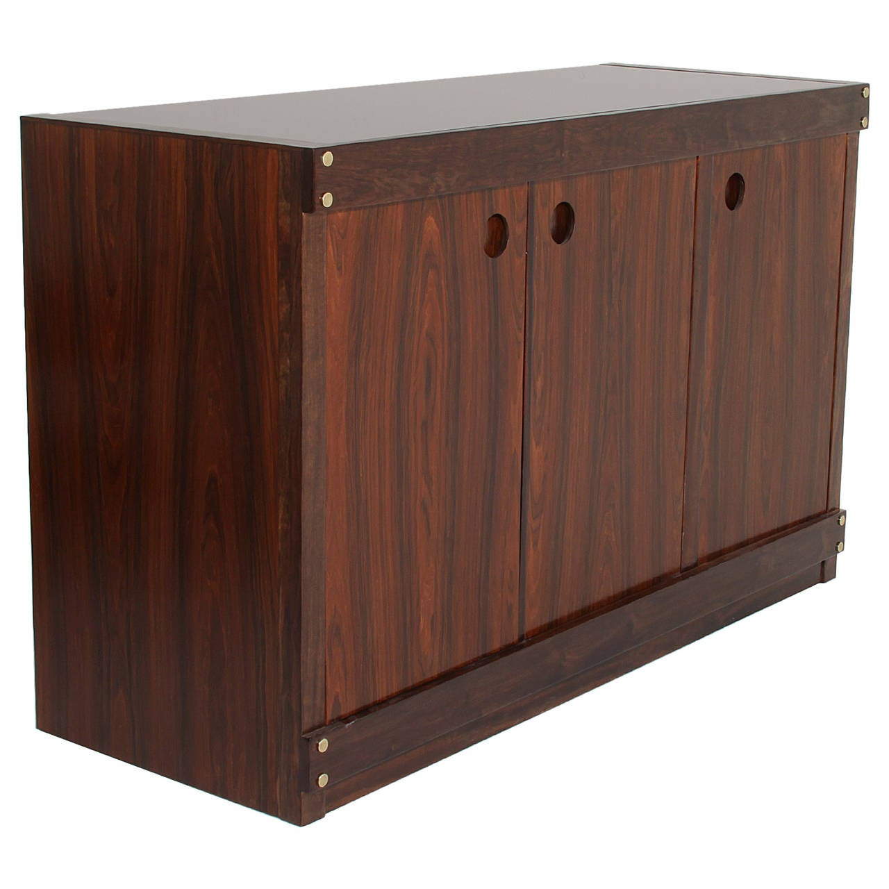 Rosewood With Brass Details And Glass-Top Cabinet Credenza