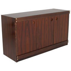 Rosewood and Glass-Top Credenza by Sergio Rodrigues