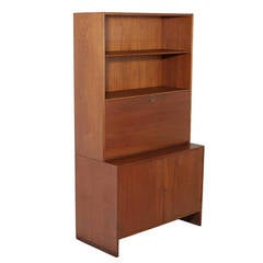 Danish Teak Secretary Cabinet with Drop Front Desk by Hans Wegner for Ry Mobler