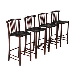 Set of Four Bent Wood Danish Bar Stools with Original Black Leather