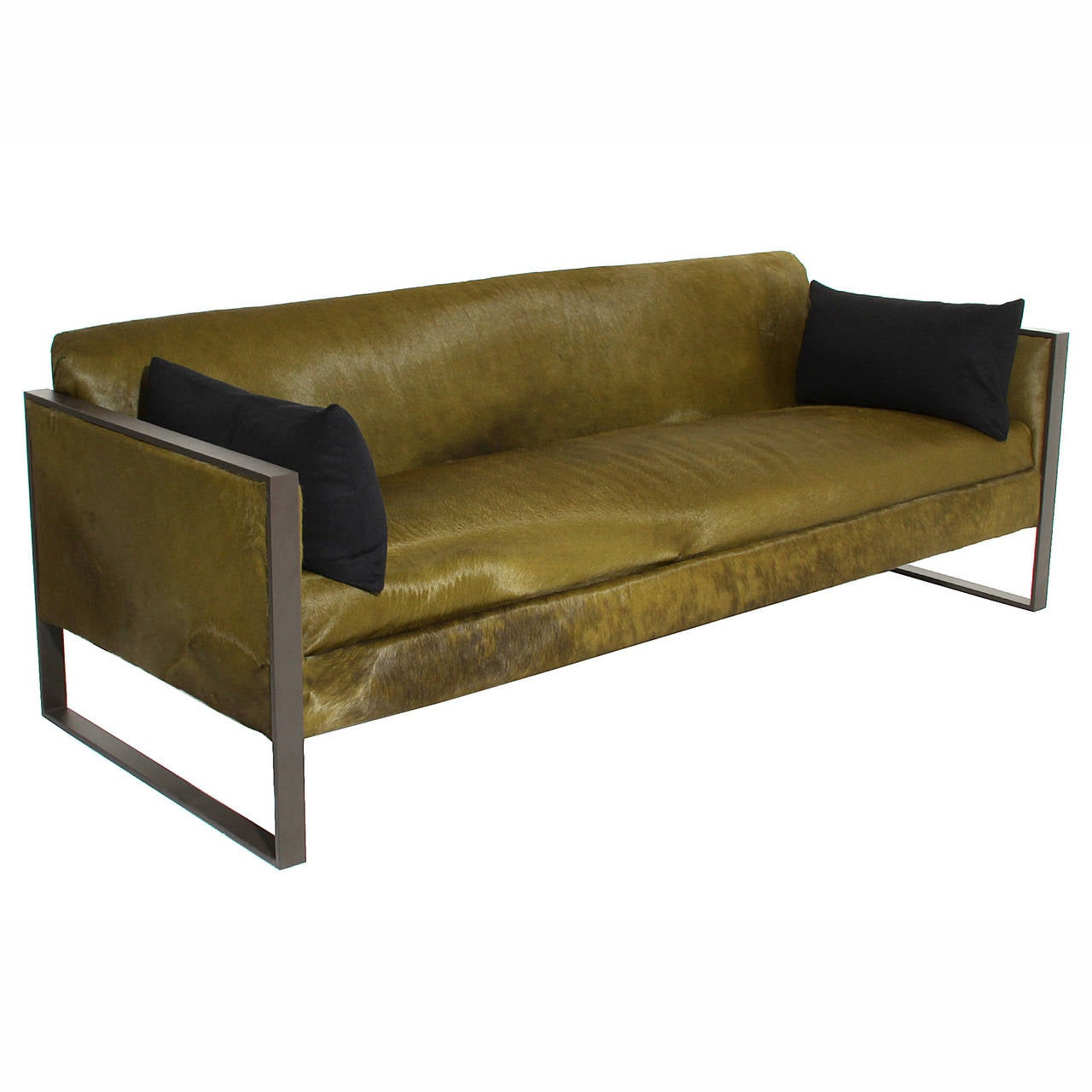 Sectional Sofa Olive Green: Milo Baughman Steel Flat Bar Sofa In Olive Green Pony Hair