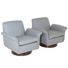 Pair of Brazilian Armchairs with Curved Arms and Cylindrical Bases
