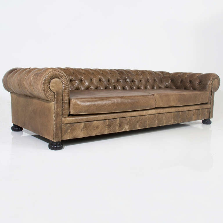 Large custom Chesterfield sofa in olive green leather at 1st