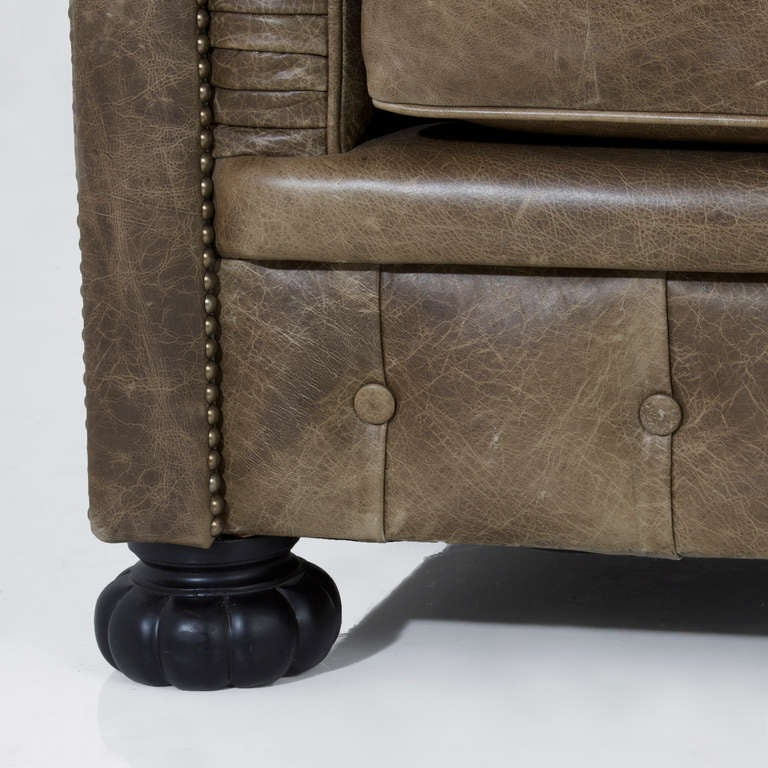 Large custom Chesterfield sofa in olive green leather For Sale 3