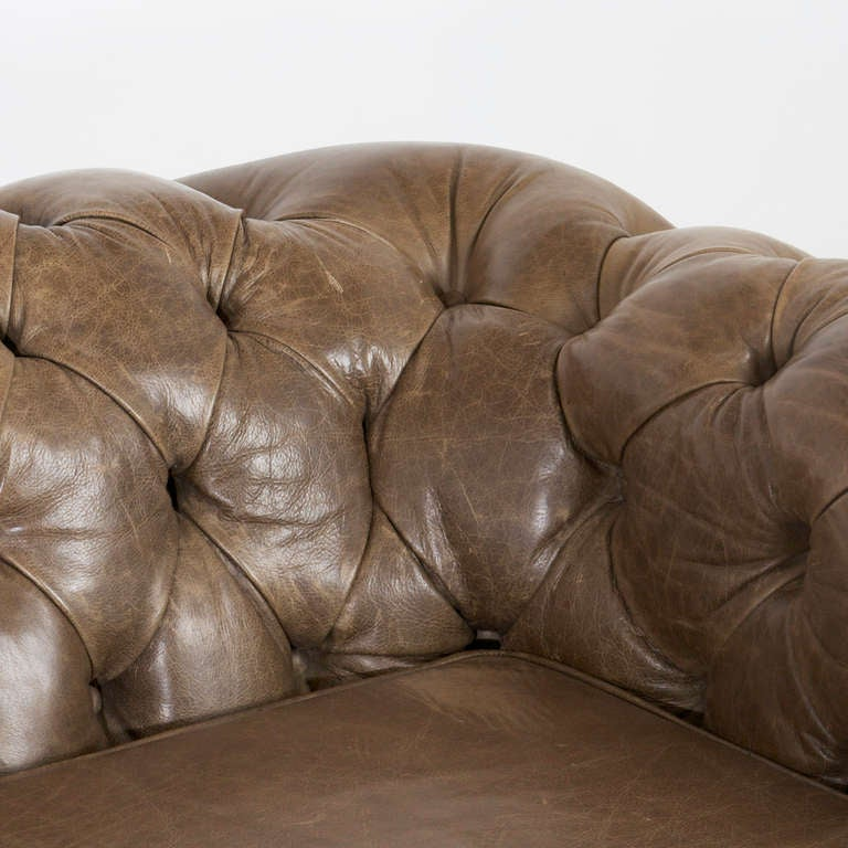 Leather Large custom Chesterfield sofa in olive green leather For Sale