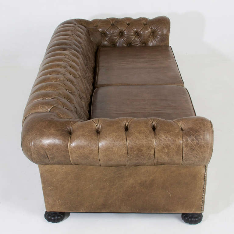 Large Custom Chesterfield Sofa In Olive Green Leather For