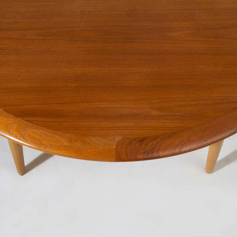 Danish Modern Round 4 Legged Teak Beveled Edge Coffee