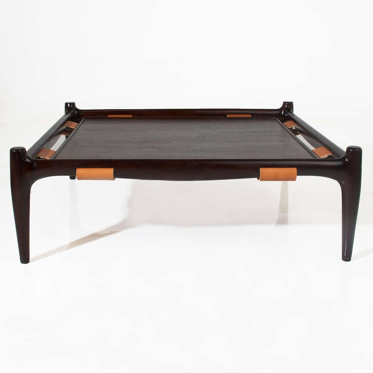 Vintage California Craftsman Leather And Mahogany Coffee Table At 1stdibs