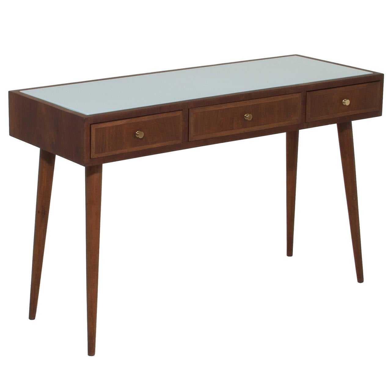 Brazilian Freijo Wood Desk With White Glass Top By