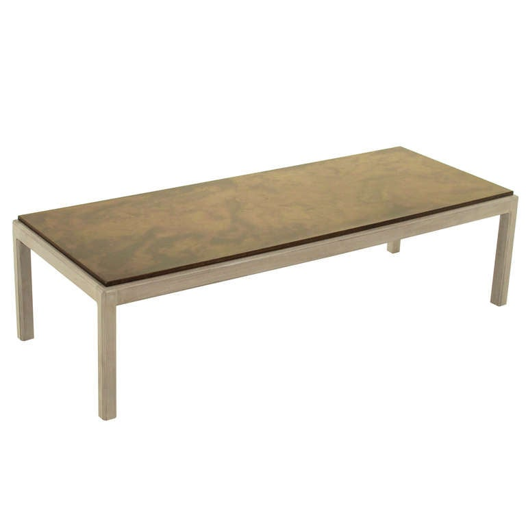 Harry Lunstead Bleached Walnut And Copper Topped Coffee Table At 1stdibs