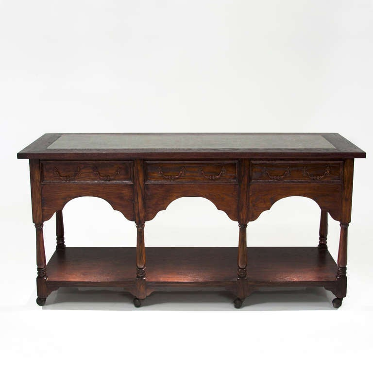 hollywood regency vintage french carved oak tall trough console table on casters for sale at 1stdibs. Black Bedroom Furniture Sets. Home Design Ideas