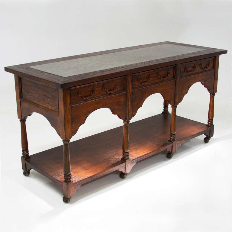 Hollywood regency vintage french carved oak tall trough for Sofa table on wheels