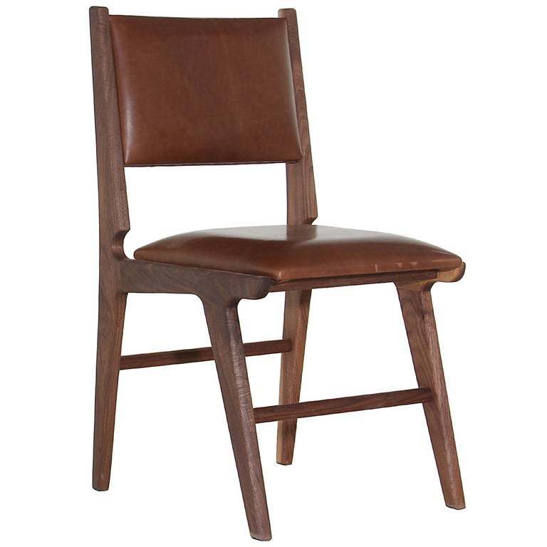 The Mejia Dining Chair In Solid Walnut by Thomas Hayes Studio