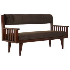 Brazilian Cerejeira Wood Bench with Mohair Upholstery by Tepperman