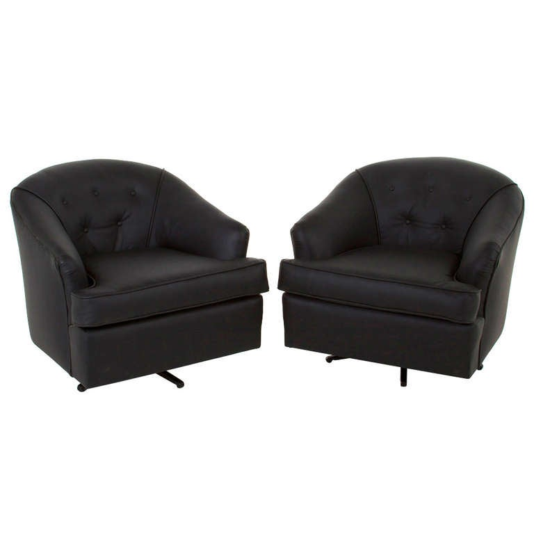 Wonderful Pair Of Vintage Black Leather Swivel Club Chairs For Sale