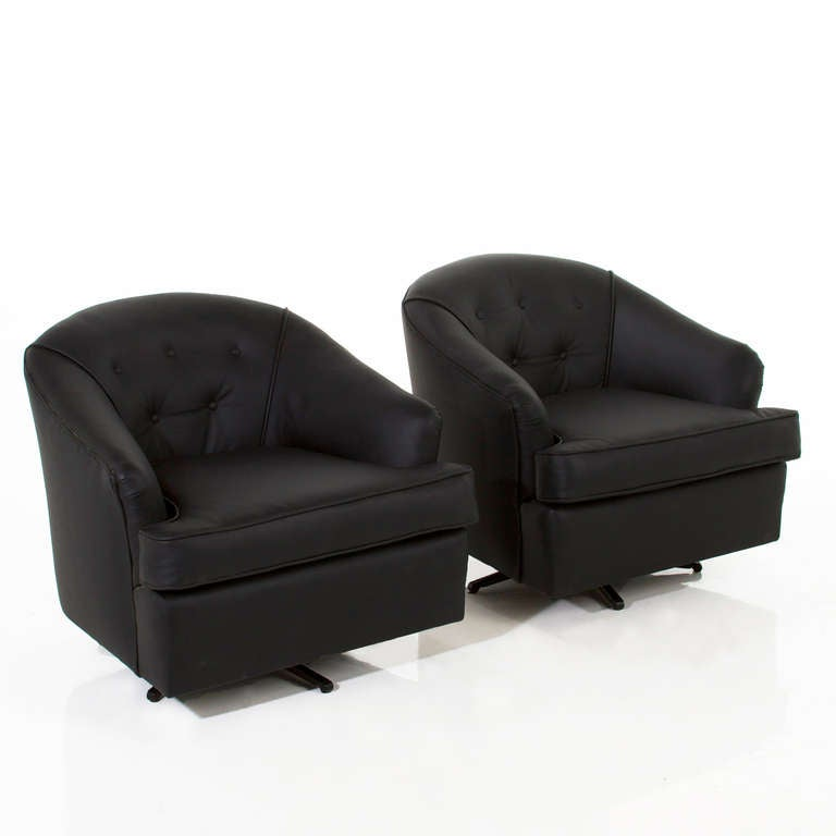 Pair Of Vintage Black Leather Swivel Club Chairs 2