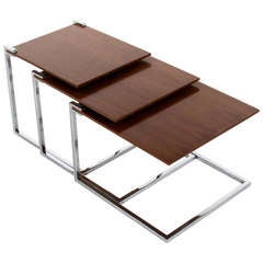 Set Of 3 Cantilevered, Floating Stainless Steel And Walnut Nesting Tables