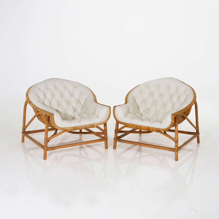 Pair Of Tufted Bamboo Lounge Chairs In The Manner Of