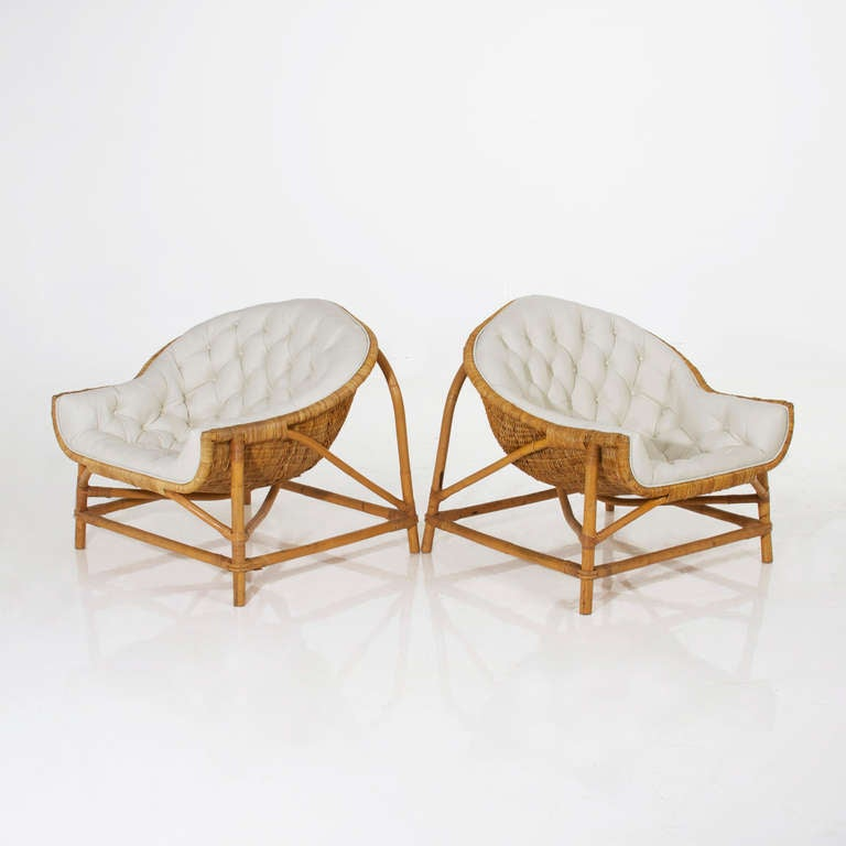 Pair of tufted bamboo lounge chairs in the manner of franco albini at