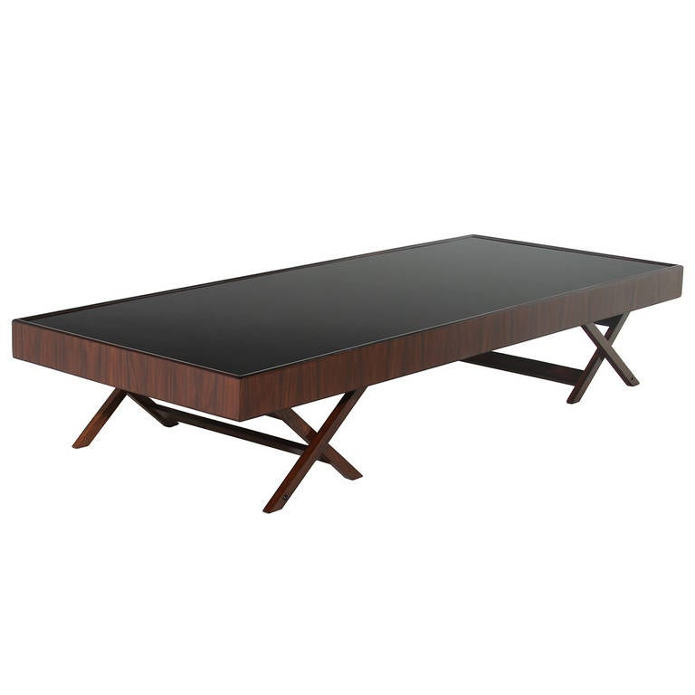 Low Rosewood Coffee Table With Reverse Painted Black Glass From Brazil At 1stdibs