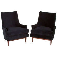 Pair of Curved Back Armchairs by Edward Wormley for Janus