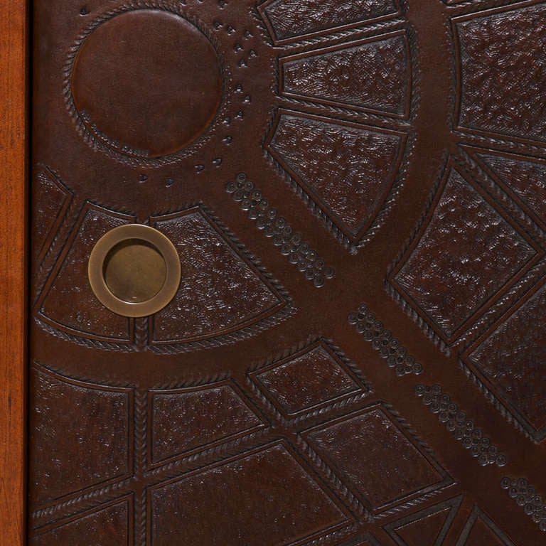 Set Of Rosewood Bedside Tables With Leather Embossed