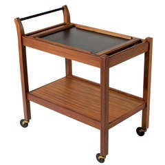 Solid Walnut Bar Tea Cart with Removable Service Tray by Glenn of California