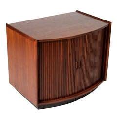 Tambour Door Walnut Side Table or Cabinet by John Kapel for Glenn of California