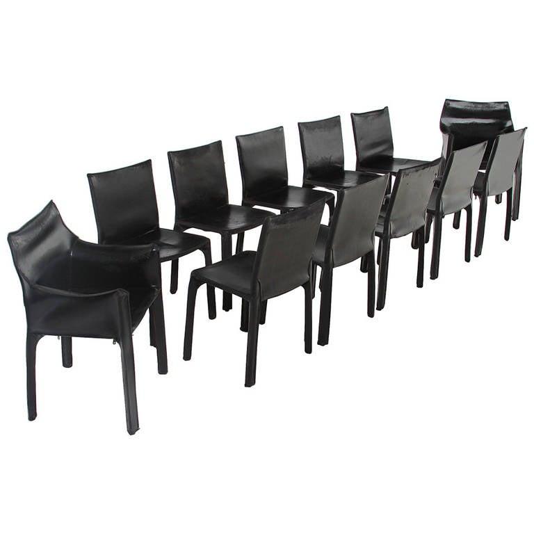 Set of 12 Mario Bellini Cab Chairs
