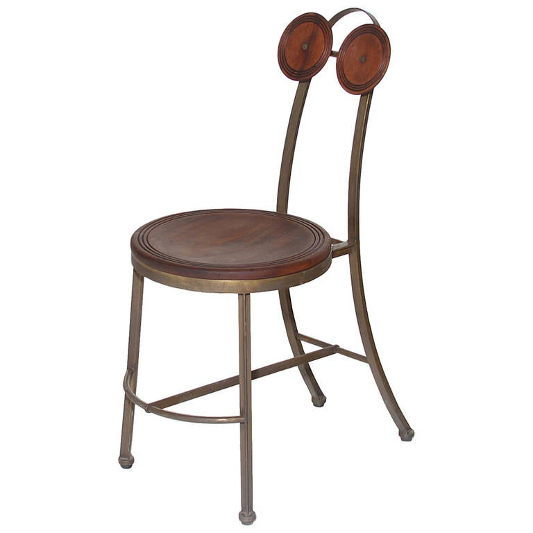 Single Bronze and Freijo Wood Chair by Pedro Useche For Sale