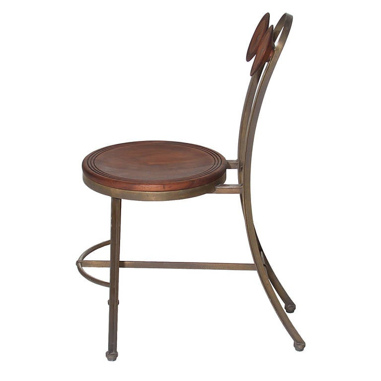 Brazilian Single Bronze and Freijo Wood Chair by Pedro Useche For Sale