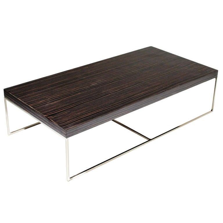 Macassar ebony and chrome base coffee table by minotti for for Minotti coffee table