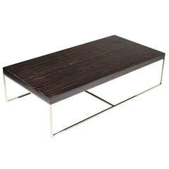 Macassar Ebony and Chrome Base Coffee Table by Minotti