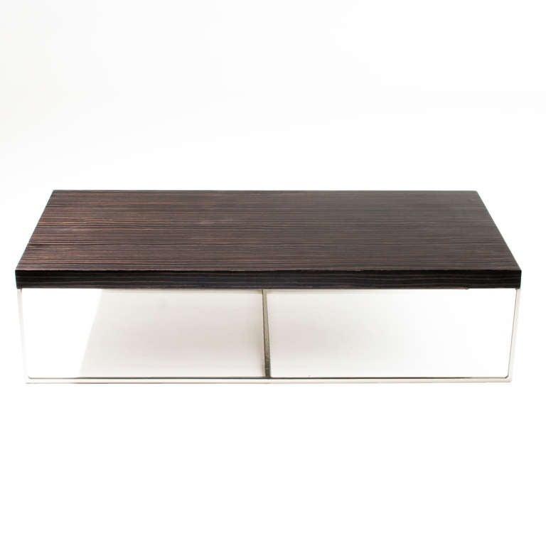 Macassar Ebony And Chrome Base Coffee Table By Minotti 2