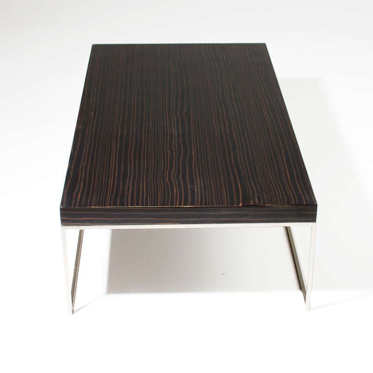 Macassar Ebony And Chrome Base Coffee Table By Minotti For Sale At 1stdibs