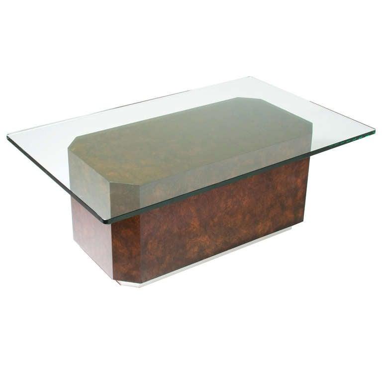 Artimeta Attributed Square Metal And Glass Coffee Table At: Walnut Burl Chrome Angled Corner Coffee Table Base