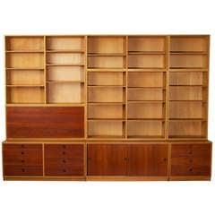 Huge Oak & Teak wall unit with drawers & bookshelves
