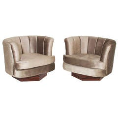 Pair of Swivel Chairs with Hexagon Rosewood bases Milo Baughman Attribution