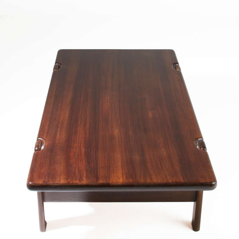 Danish Modern Staved Large Solid Teak Coffee Table From Denmark For Sale At 1stdibs
