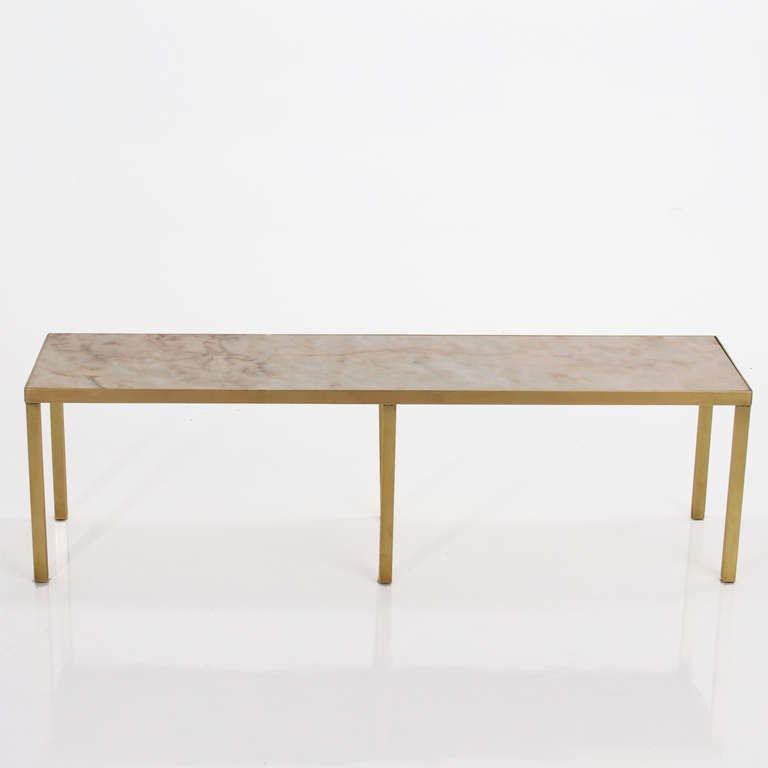 Narrow rectangular brass and marble coffee table by edward for Narrow cocktail table