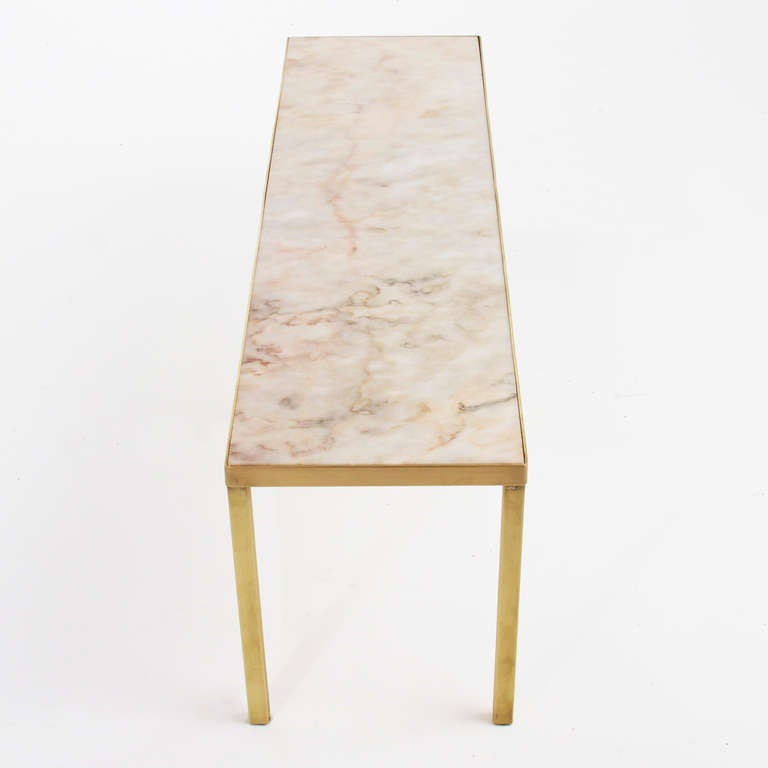 Narrow Rectangular Brass And Marble Coffee Table By Edward