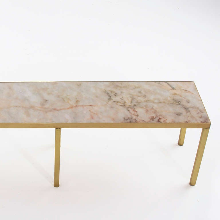 narrow rectangular brass and marble coffee table by edward With narrow rectangular coffee table