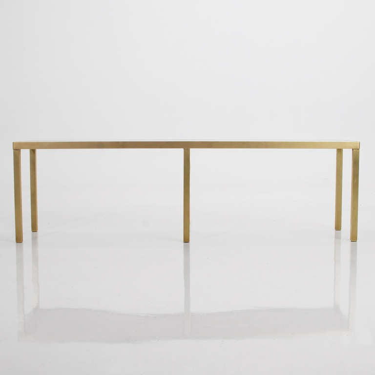 American Narrow Rectangular Brass U0026 Marble Coffee Table By Edward Wormley  For Sale