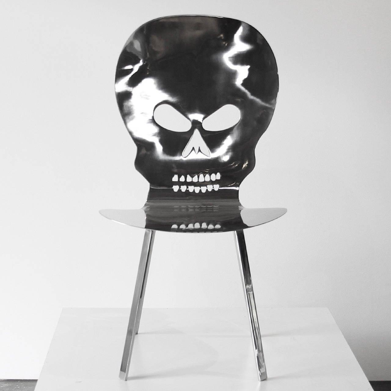 Black skull chair - Cadeira Caveira Inox Skull Inox Chair By Al Jord O 3